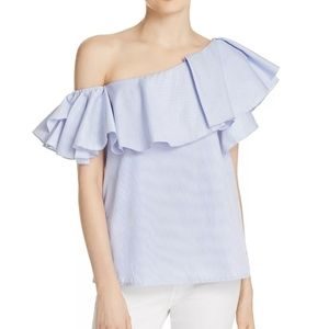 MLM Label Ruffle One Shoulder Striped Blouse